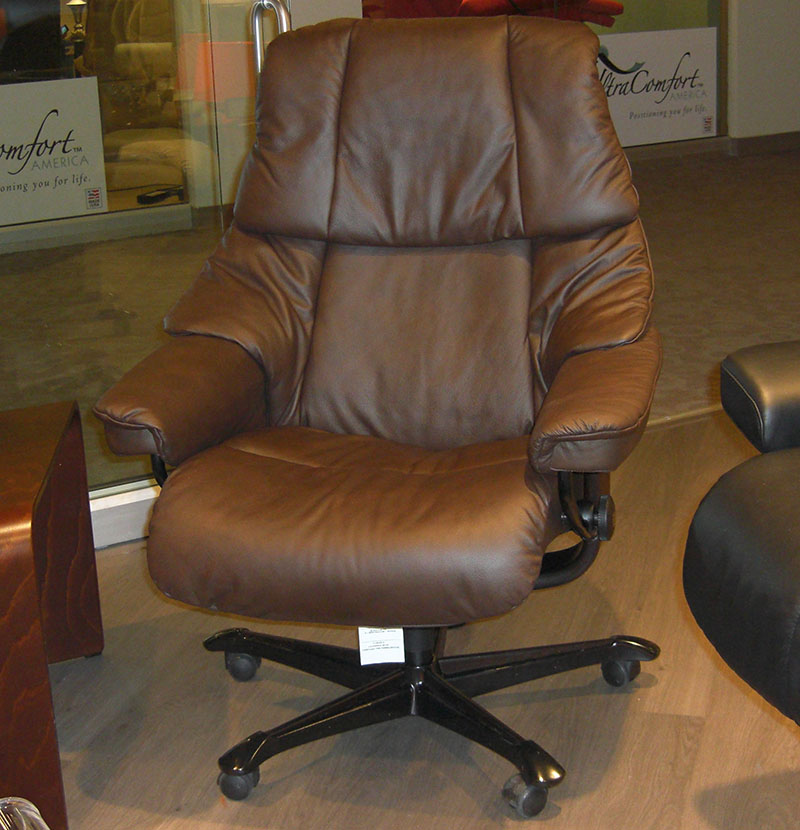 Stressless Paloma Chocolate Leather Reno Office Chair