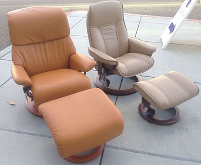 Stressless Dream in Tan Cori Leather with a Consul in Paloma Sand Leather by Ekornes