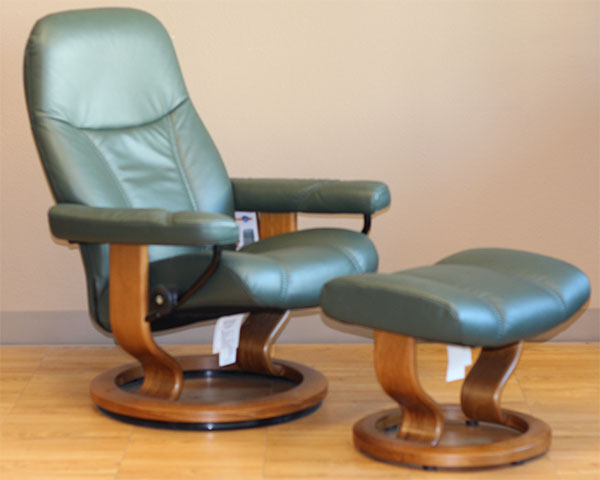 Stressless Batick Hunter Green Leather Recliner by Ekornes