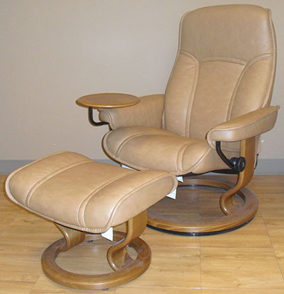 Stressless Senator Paloma Taupe Leather Recliner and Ottoman