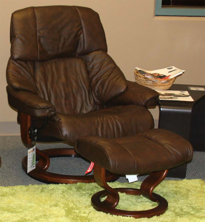 Stressless Vegas Paloma Chocolate Leather Recliner and Ottoman
