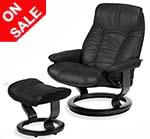 Stressless Governor Recliner Chairs and Ottoman