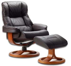 Fjords 855 Loen Ergonomic Leather Recliner Chair Ottoman