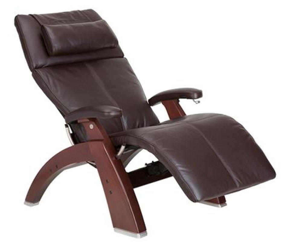 Espresso Top Grain Leather Chestnut Wood Base Series 2 Classic Perfect Chair Zero Gravity Power Recliner by Human Touch