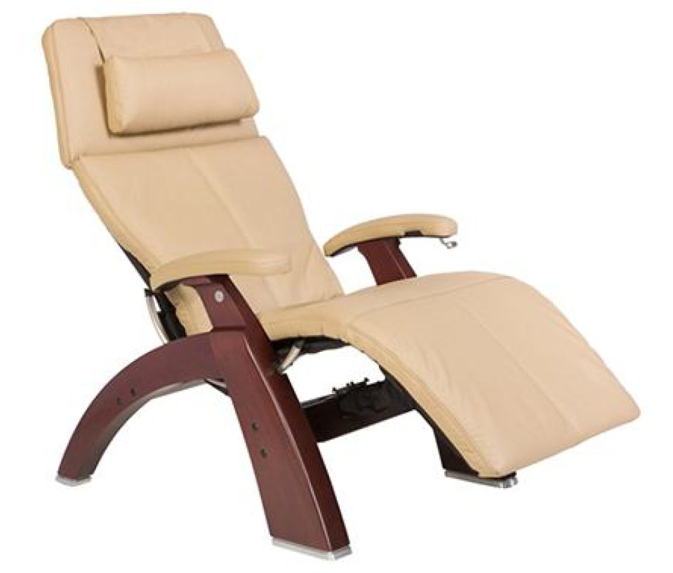 Sand Top Grain Leather Chestnut Wood Base Series 2 Classic Perfect Chair Zero Gravity Power Recliner by Human Touch