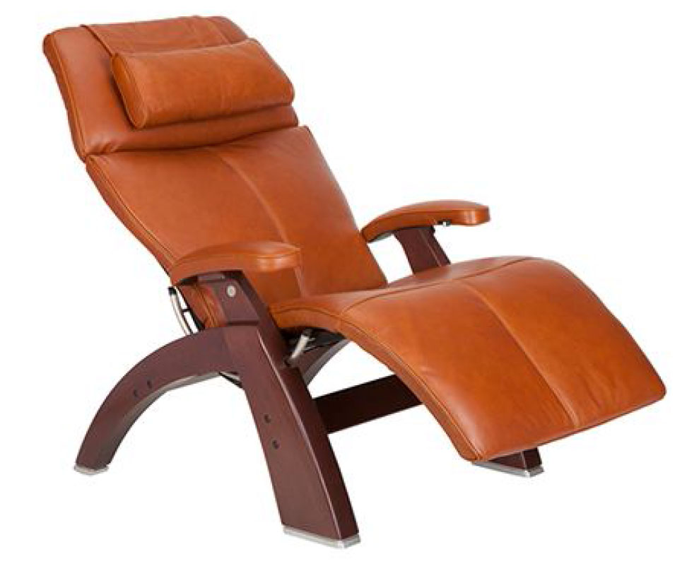 Cognac Premium Leather Chestnut Wood Base Series 2 Classic Perfect Chair Zero Gravity Power Recliner by Human Touch