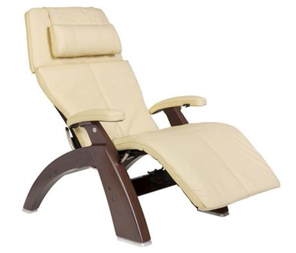 Ivory Top Grain Leather Dark Walnut Wood Base Series 2 Classic Perfect Chair Zero Gravity Power Recliner by Human Touch
