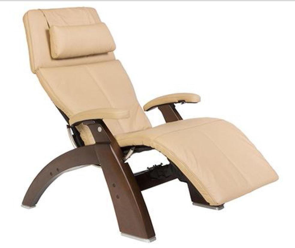 Sand Top Grain Leather Dark Walnut Wood Base Series 2 Classic Perfect Chair Zero Gravity Power Recliner by Human Touch