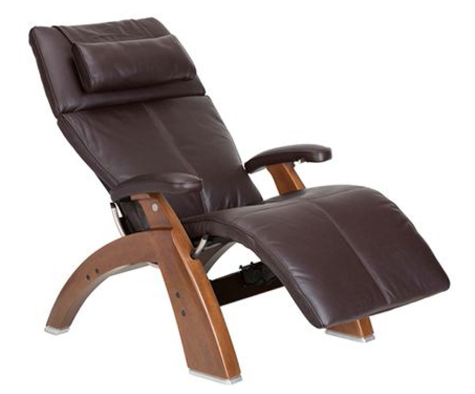Espresso Premium Leather Walnut Wood Base Series 2 Classic Perfect Chair Zero Gravity Power Recliner by Human Touch