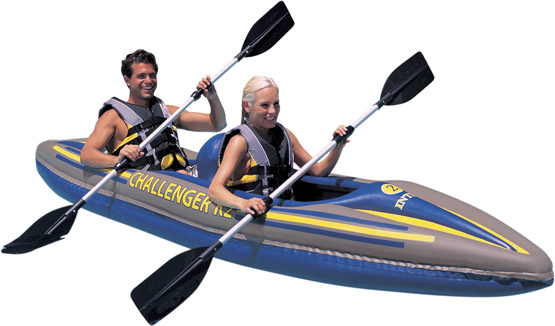 Inflatable Kayaks One And Two Man With Kayak Paddles Oars